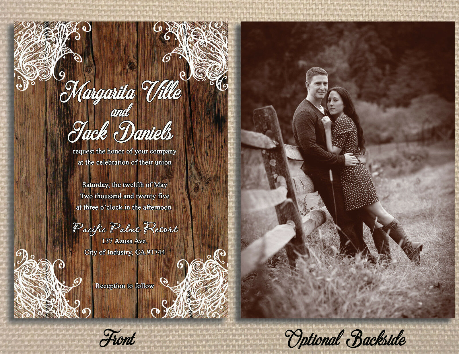 Customized Country Rustic Lace Wedding Invitations Package Quality Press  Printed | InvitationPrints.Com